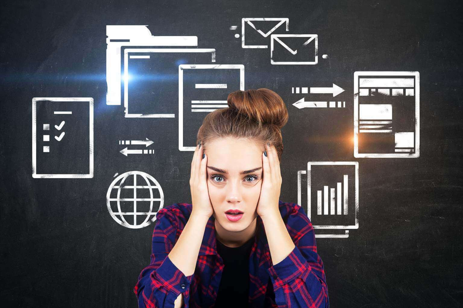 Female employee overwhelmed with workflow