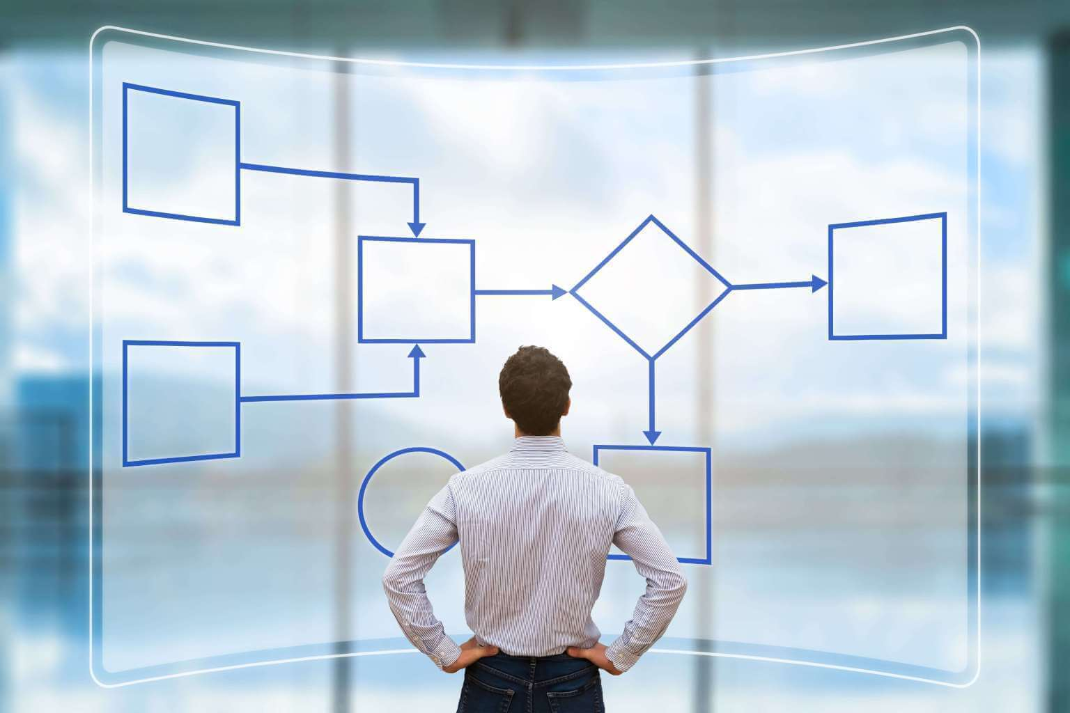 InteractModel - man standing in front of business processes and workflows