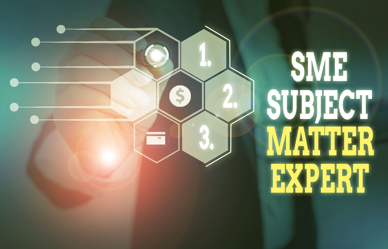 Man touching diagram - SME subject matter expert