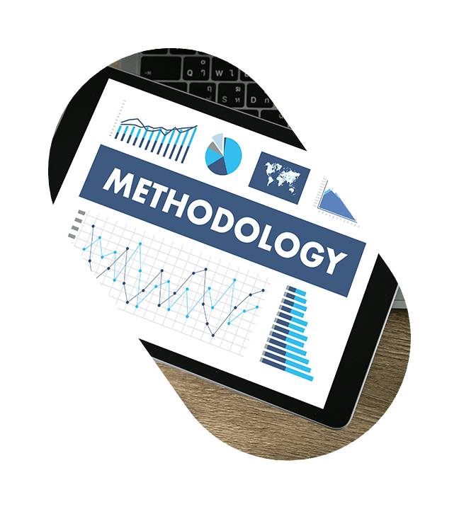 Methodology - charts and graphs on tablet